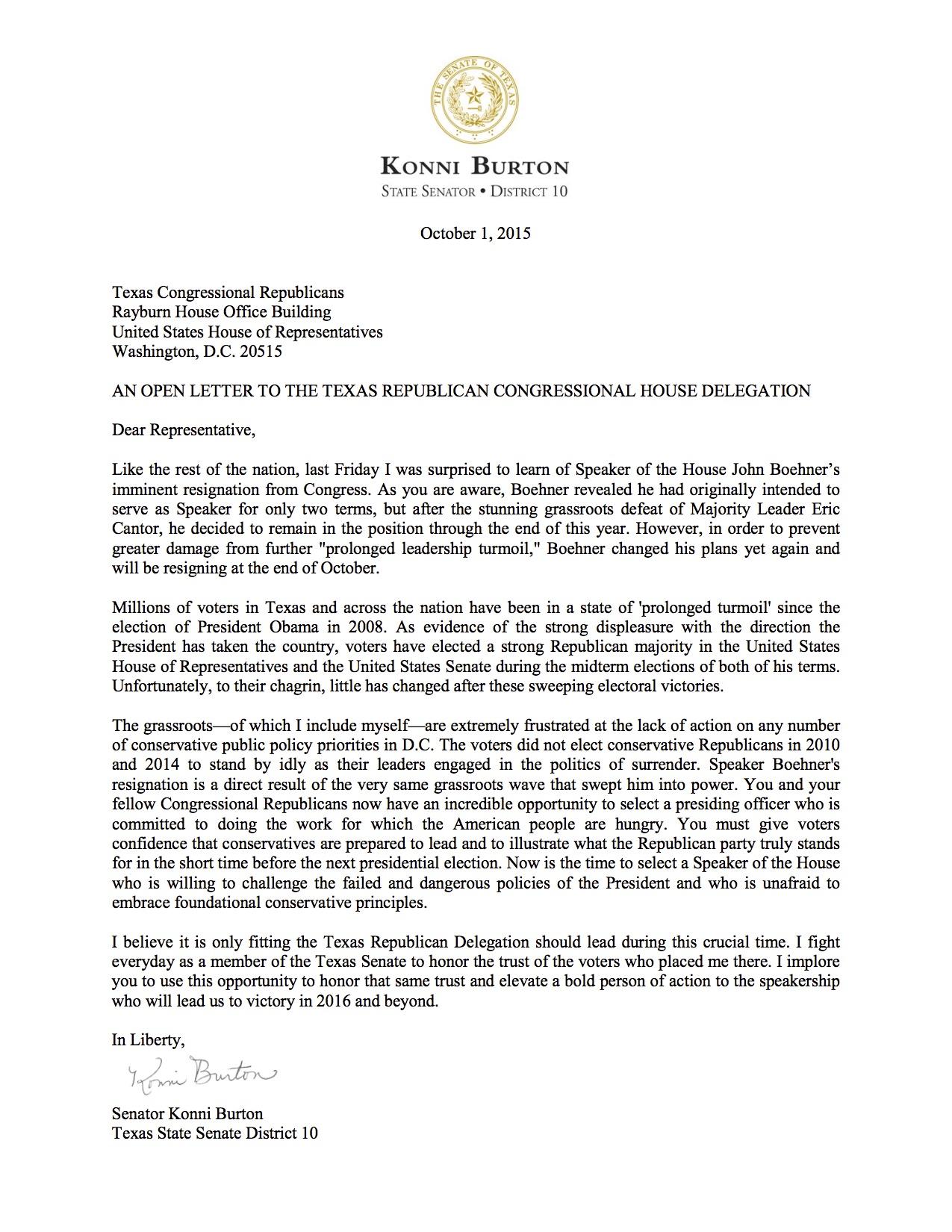 LTR_GENERAL_Open Letter from TX State Senator Konni Burton